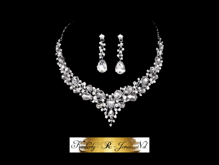 Kimberly R Jones Silver bridal crystal necklace and earrings