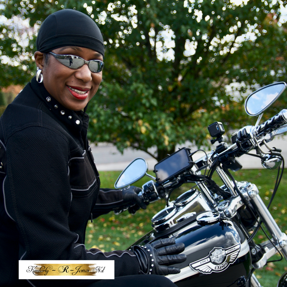 Kimberly R Jones wearing touch screen leather gloves
